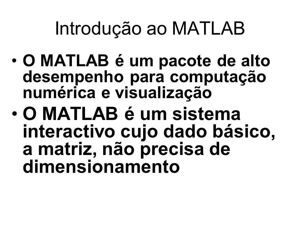 Introdução ao MATLAB O MATLAB é um pacote de alto desempenho para computação numérica e visualização O MATLAB é um sistema interactivo cujo dado básic