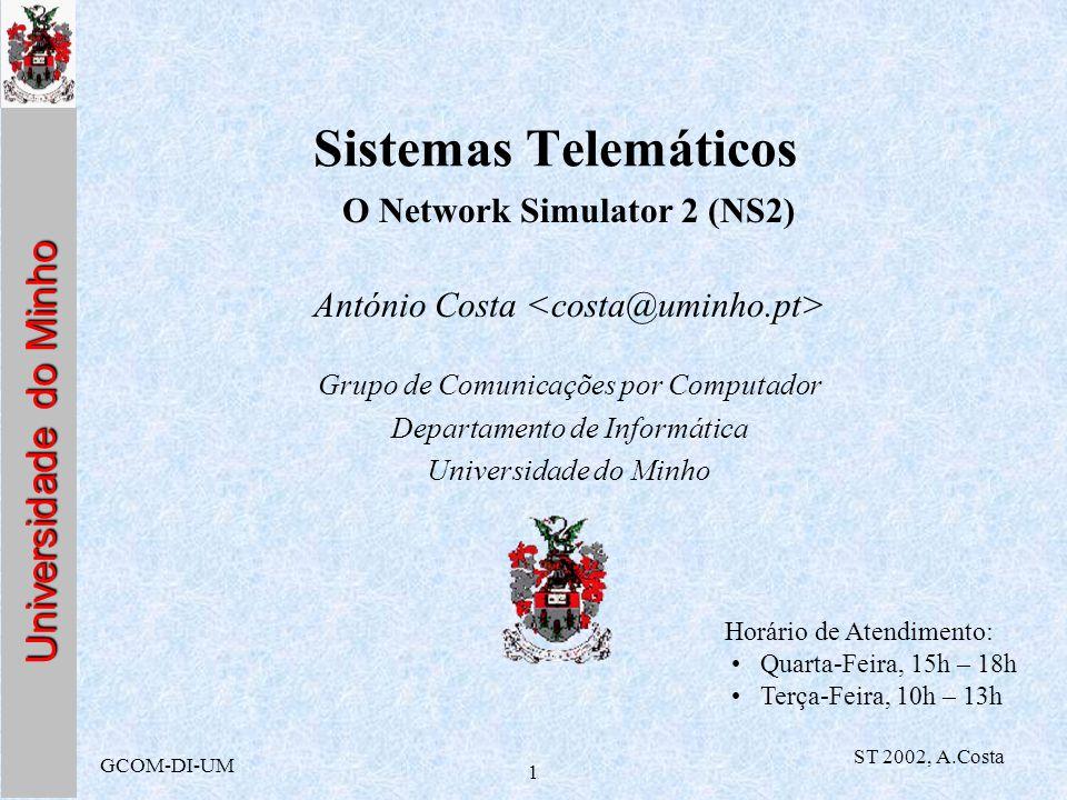 Universidade do Minho GCOM-DI-UM ST 2002, A.Costa 1 Sistemas Telemáticos O Network Simulator 2 (NS2) António Costa Grupo de Comunicações por Computado