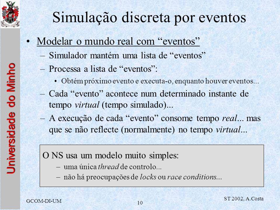 Universidade do Minho GCOM-DI-UM ST 2002, A.Costa 10 Simulação discreta por eventos Modelar o mundo real com eventos –Simulador mantém uma lista de ev