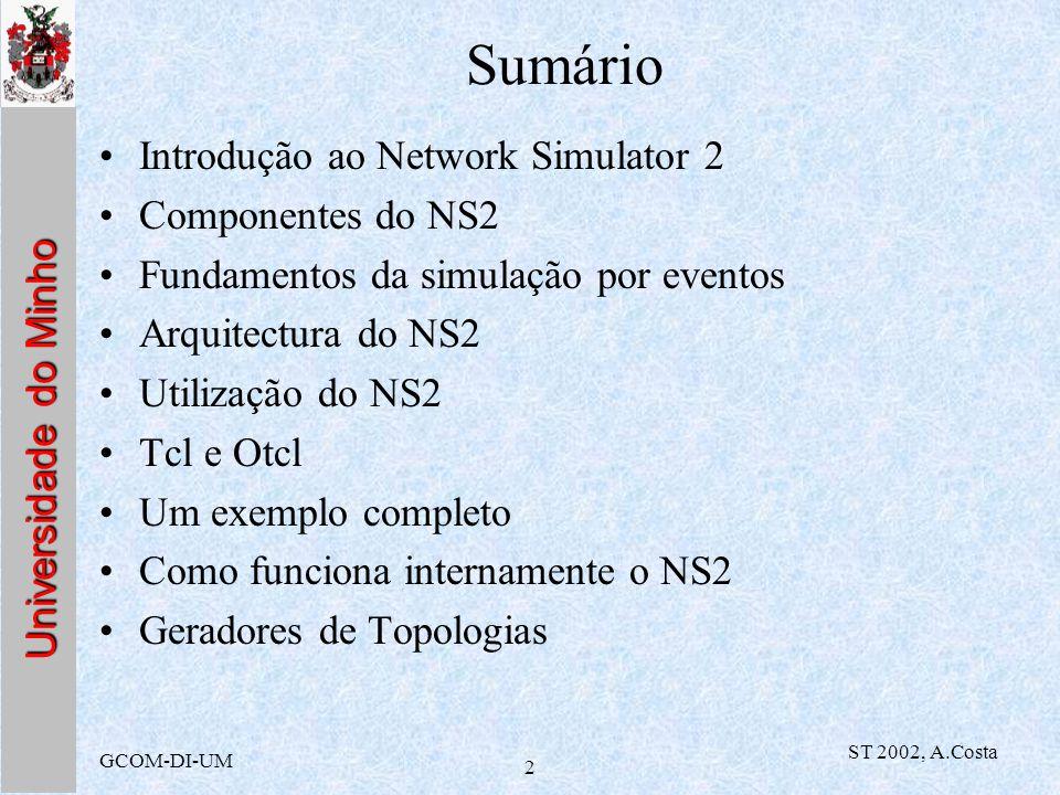 Universidade do Minho GCOM-DI-UM ST 2002, A.Costa 2 Sumário Introdução ao Network Simulator 2 Componentes do NS2 Fundamentos da simulação por eventos