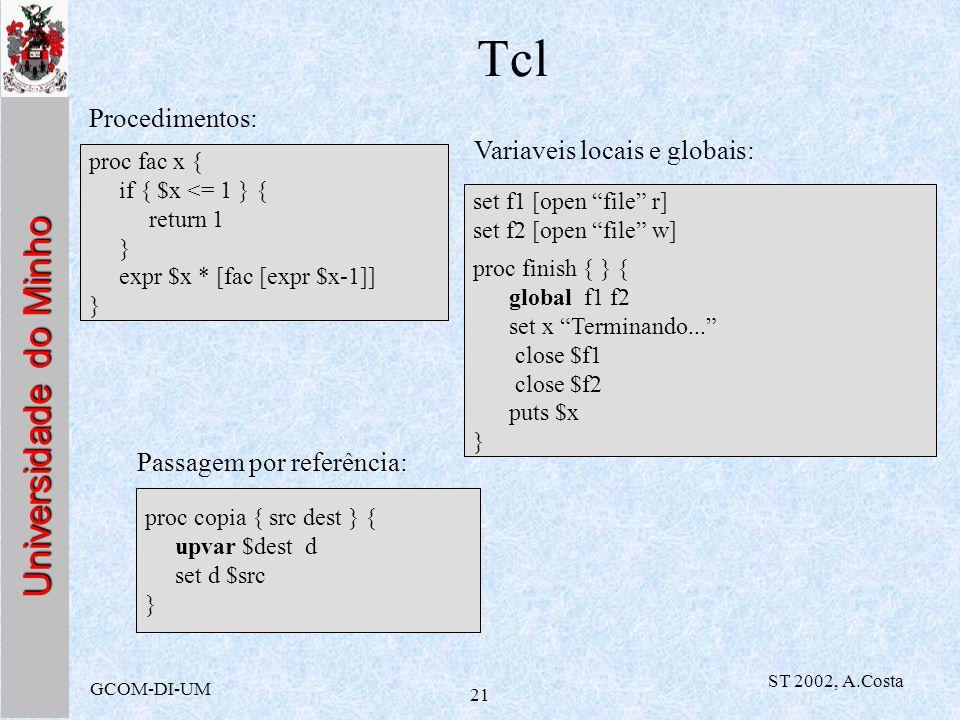 Universidade do Minho GCOM-DI-UM ST 2002, A.Costa 21 Tcl proc fac x { if { $x <= 1 } { return 1 } expr $x * [fac [expr $x-1]] } Procedimentos: Variave