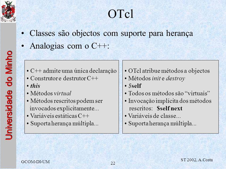 Universidade do Minho GCOM-DI-UM ST 2002, A.Costa 22 OTcl Classes são objectos com suporte para herança Analogias com o C++: C++ admite uma única decl