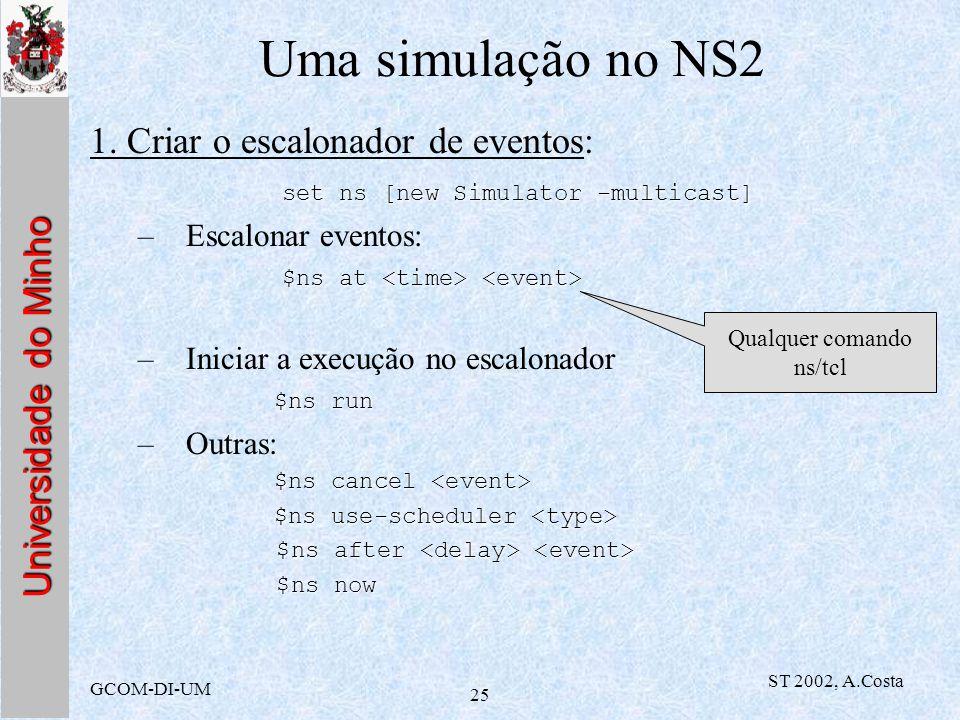 Universidade do Minho GCOM-DI-UM ST 2002, A.Costa 25 Uma simulação no NS2 1. Criar o escalonador de eventos: set ns [new Simulator -multicast] –Escalo