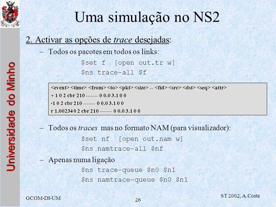 Universidade do Minho GCOM-DI-UM ST 2002, A.Costa 26 Uma simulação no NS2 2. Activar as opções de trace desejadas: –Todos os pacotes em todos os links