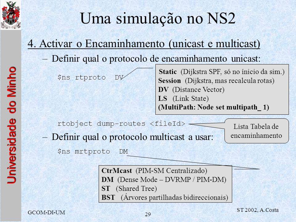 Universidade do Minho GCOM-DI-UM ST 2002, A.Costa 29 Uma simulação no NS2 4. Activar o Encaminhamento (unicast e multicast) –Definir qual o protocolo