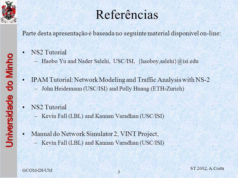 Universidade do Minho GCOM-DI-UM ST 2002, A.Costa 3 Referências Parte desta apresentação é baseada no seguinte material disponível on-line: NS2 Tutori