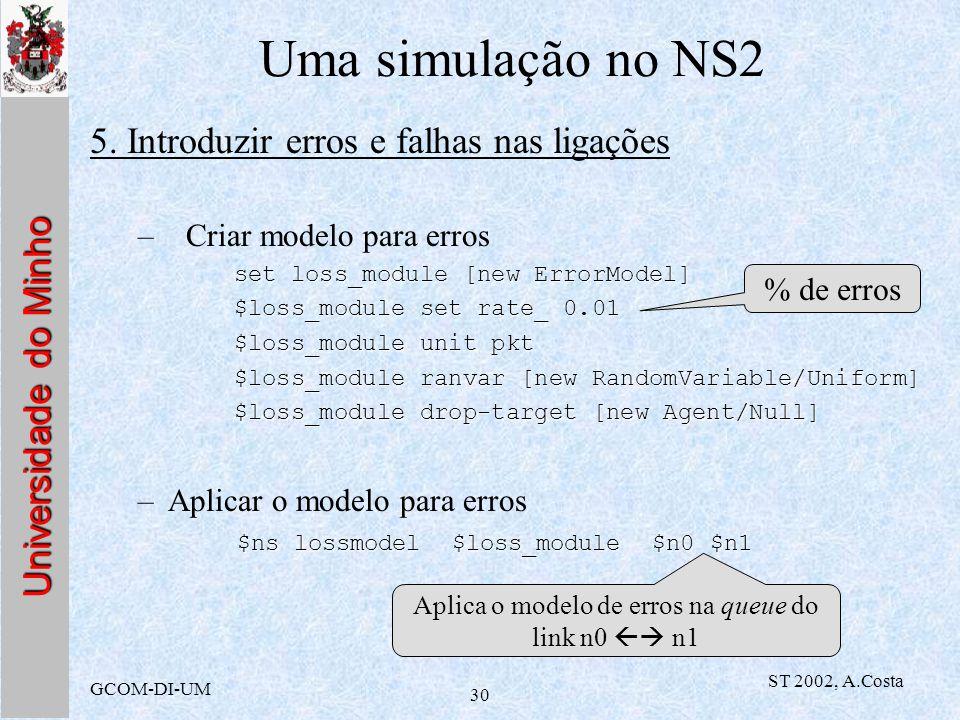 Universidade do Minho GCOM-DI-UM ST 2002, A.Costa 30 Uma simulação no NS2 5. Introduzir erros e falhas nas ligações –Criar modelo para erros set loss_