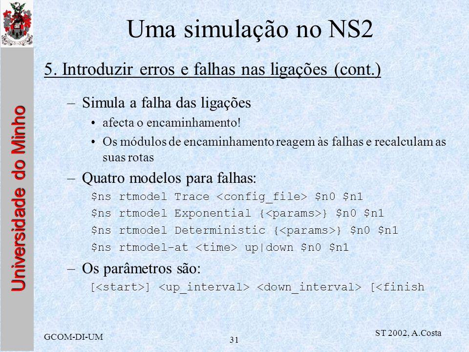 Universidade do Minho GCOM-DI-UM ST 2002, A.Costa 31 Uma simulação no NS2 5. Introduzir erros e falhas nas ligações (cont.) –Simula a falha das ligaçõ
