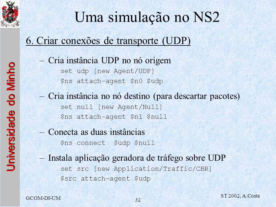 Universidade do Minho GCOM-DI-UM ST 2002, A.Costa 32 Uma simulação no NS2 6. Criar conexões de transporte (UDP) –Cria instância UDP no nó origem set u