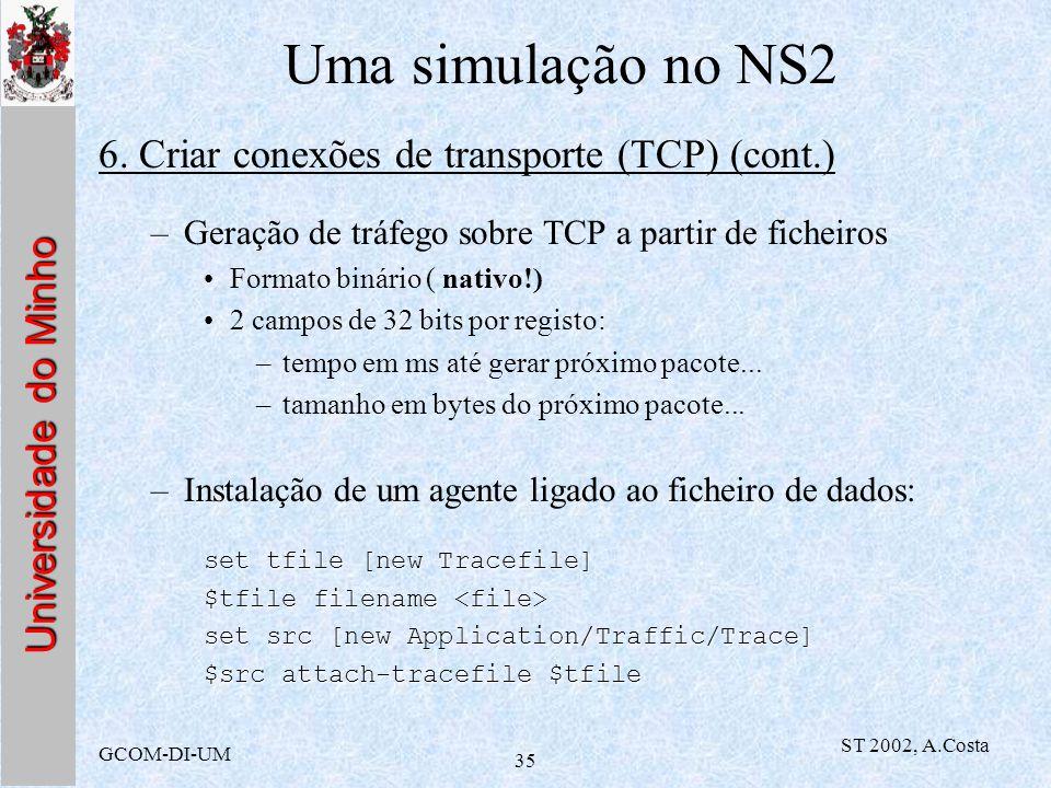 Universidade do Minho GCOM-DI-UM ST 2002, A.Costa 35 Uma simulação no NS2 6. Criar conexões de transporte (TCP) (cont.) –Geração de tráfego sobre TCP