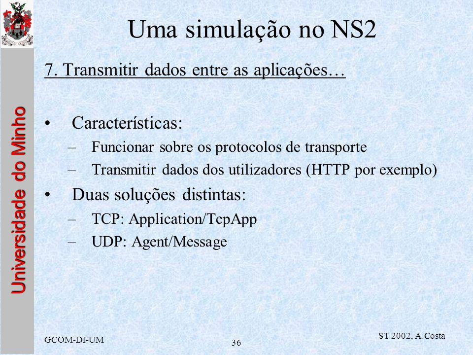 Universidade do Minho GCOM-DI-UM ST 2002, A.Costa 36 Uma simulação no NS2 7. Transmitir dados entre as aplicações… Características: –Funcionar sobre o