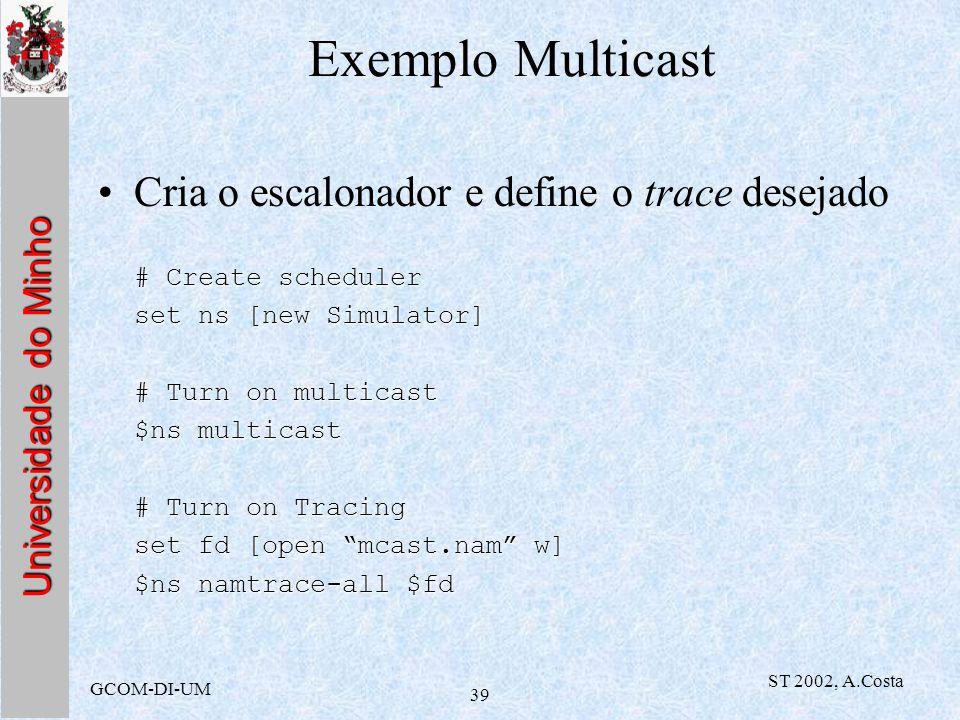 Universidade do Minho GCOM-DI-UM ST 2002, A.Costa 39 Exemplo Multicast Cria o escalonador e define o trace desejado # Create scheduler set ns [new Sim