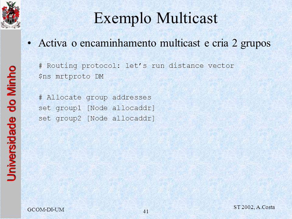 Universidade do Minho GCOM-DI-UM ST 2002, A.Costa 41 Exemplo Multicast Activa o encaminhamento multicast e cria 2 grupos # Routing protocol: lets run