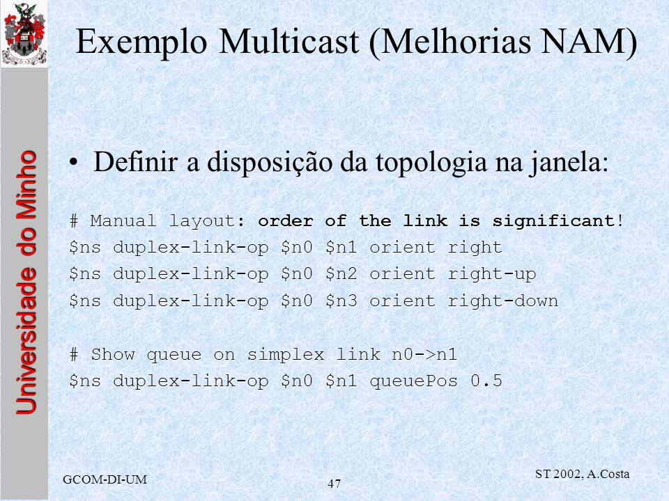 Universidade do Minho GCOM-DI-UM ST 2002, A.Costa 47 Exemplo Multicast (Melhorias NAM) Definir a disposição da topologia na janela: # Manual layout: o