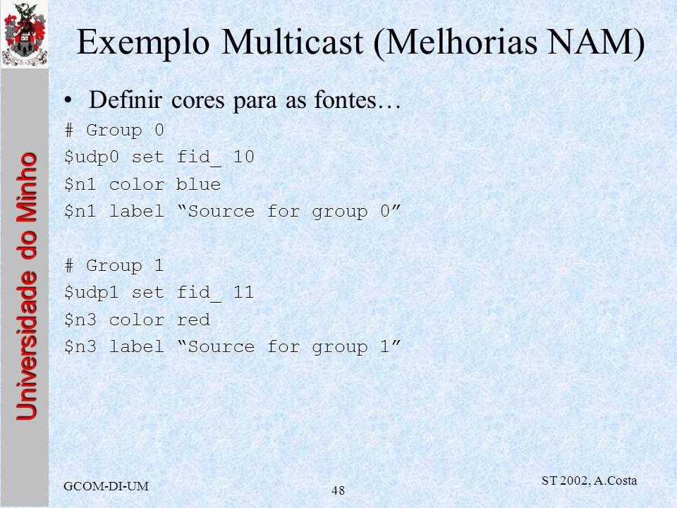 Universidade do Minho GCOM-DI-UM ST 2002, A.Costa 48 Exemplo Multicast (Melhorias NAM) Definir cores para as fontes… # Group 0 $udp0 set fid_ 10 $n1 c