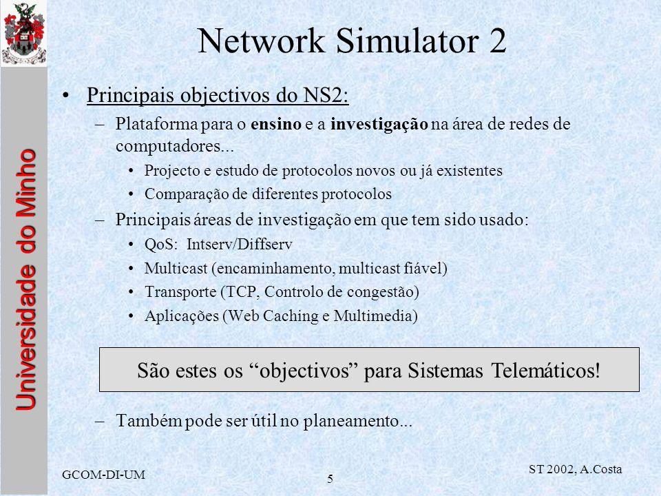 Universidade do Minho GCOM-DI-UM ST 2002, A.Costa 5 Network Simulator 2 Principais objectivos do NS2: –Plataforma para o ensino e a investigação na ár