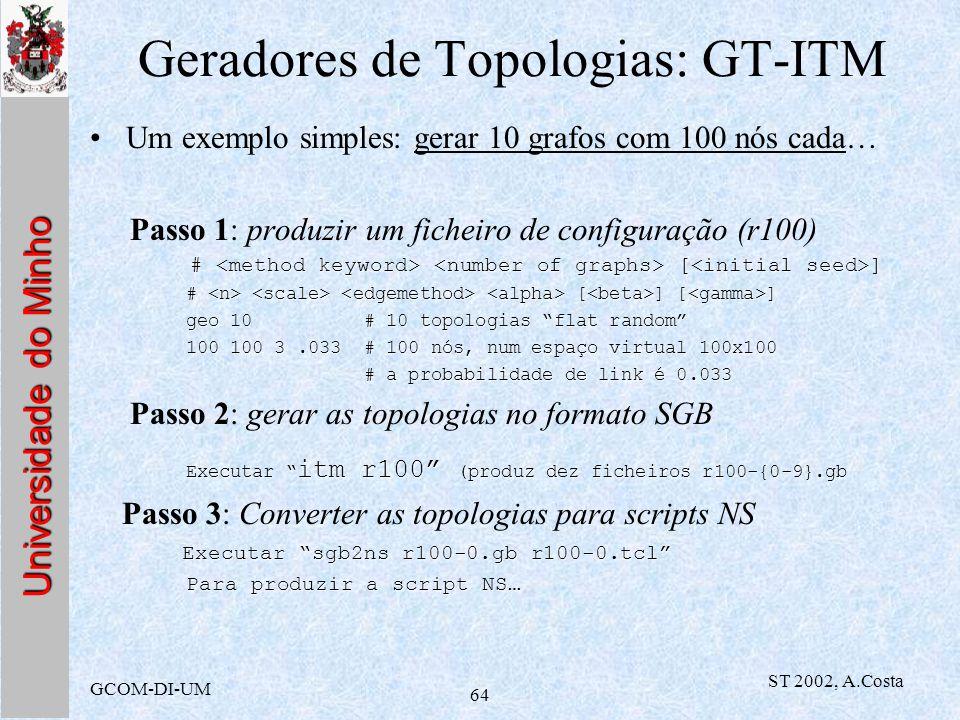 Universidade do Minho GCOM-DI-UM ST 2002, A.Costa 64 Geradores de Topologias: GT-ITM Um exemplo simples: gerar 10 grafos com 100 nós cada… Passo 1: pr