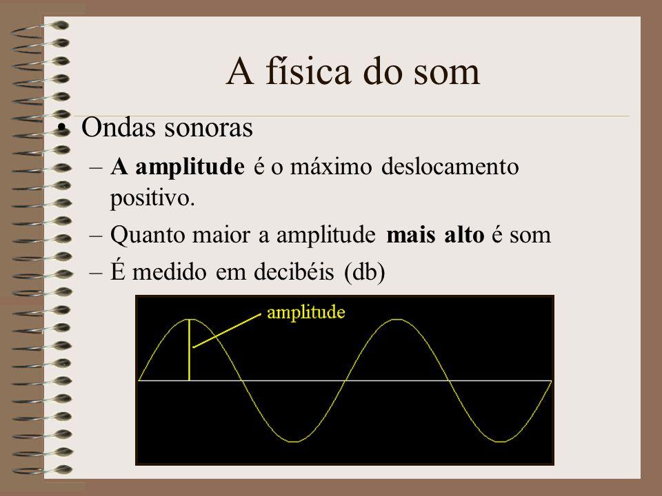 A física do som Ondas sonoras –Uma onda produz áreas de alta e baixa pressão –Quando a onda de alta pressão atinge o timpano ele move-se para dentro –