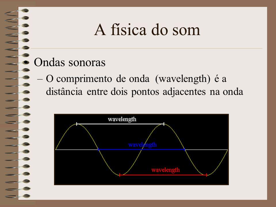 A física do som Ondas sonoras –A amplitude é o máximo deslocamento positivo. –Quanto maior a amplitude mais alto é som –É medido em decibéis (db)