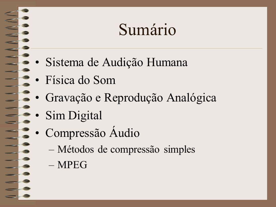 MPEG Audio Camada 1 – usa codificação de sub-banda Camada 2 – usa codificação de sub-banda com quadros maiores e maior nível de compressão Camada 3 –Usa tanto codificação de sub-banda como de transformada