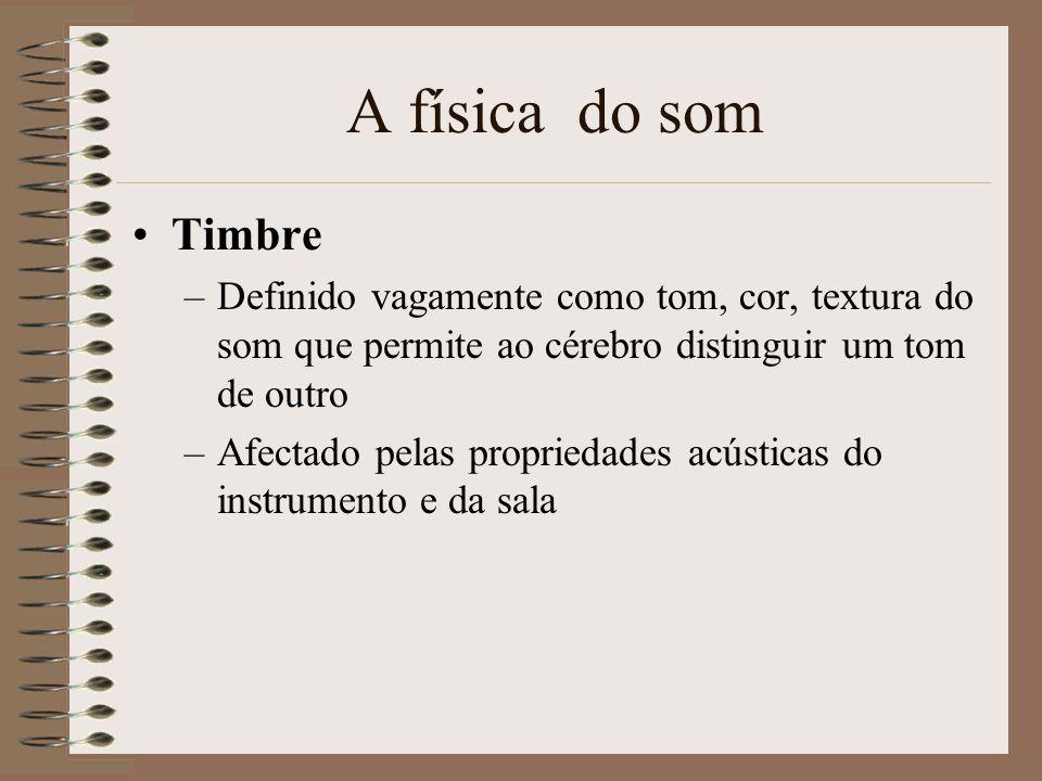 A física do som A percepção do som inclui três aspectos: –Intensidade (amplitude); –Tom (frequência); e, –Timbre Porquê que o violino e o piano a toca