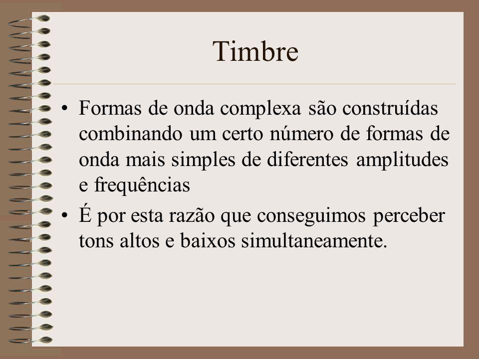 A física do som Timbre –Definido vagamente como tom, cor, textura do som que permite ao cérebro distinguir um tom de outro –Afectado pelas propriedade