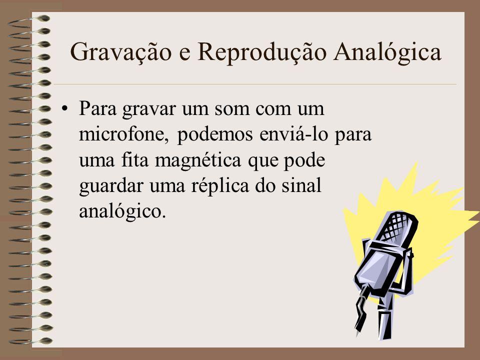 Gravação e Reprodução Analógica Um microfone converte as mudanças de pressão no ar em mudanças na tensão eléctrica. Produz-se um sinal analógico. Se s