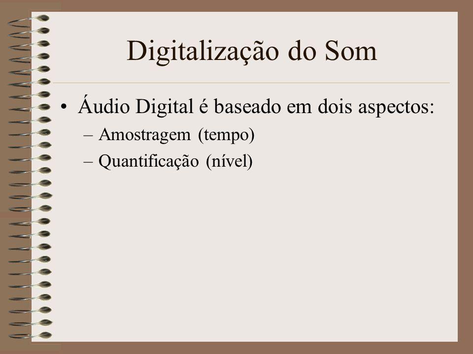 Digitalização do Som Quando se trabalha com audio digital há duas questões que precisam de resposta: –Que qualidade é necessária? –Que débito de dados