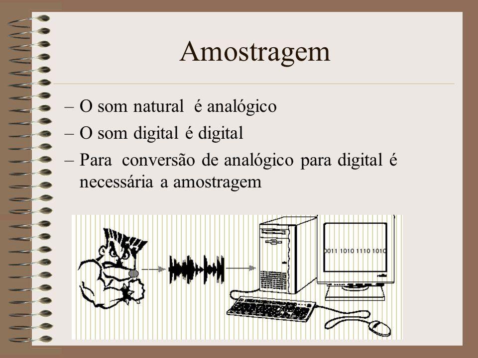 Digitalização do Som Áudio Digital é baseado em dois aspectos: –Amostragem (tempo) –Quantificação (nível)