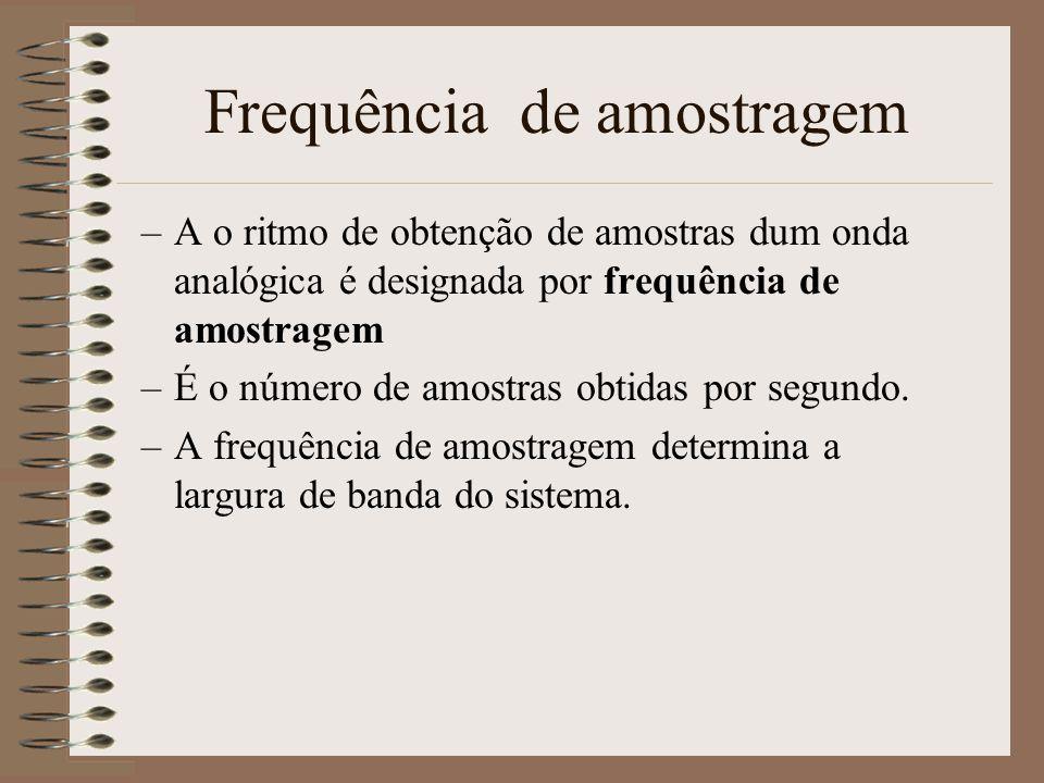 Amostragem –Uma onda analógica pode ser amostrada com um número de bits pré-determinado –Isto é chamado a resolução em bits do sistema –Quanto mais bi