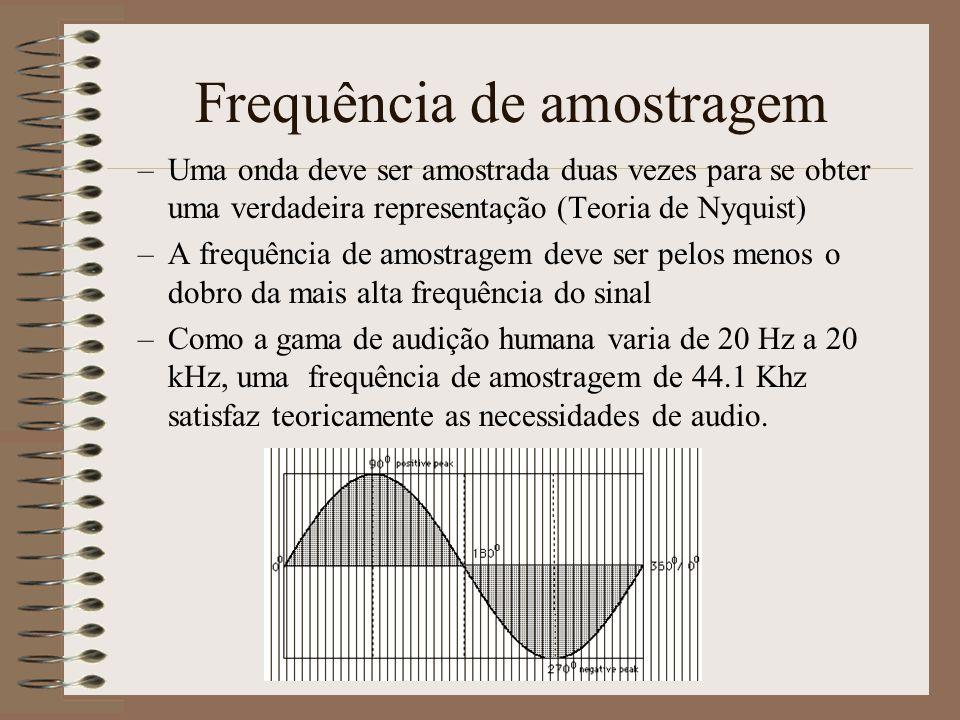 Frequência de amostragem –Quanto maior for a frequência de amostragem maior é a possibilidade de capturar as altas frequências.