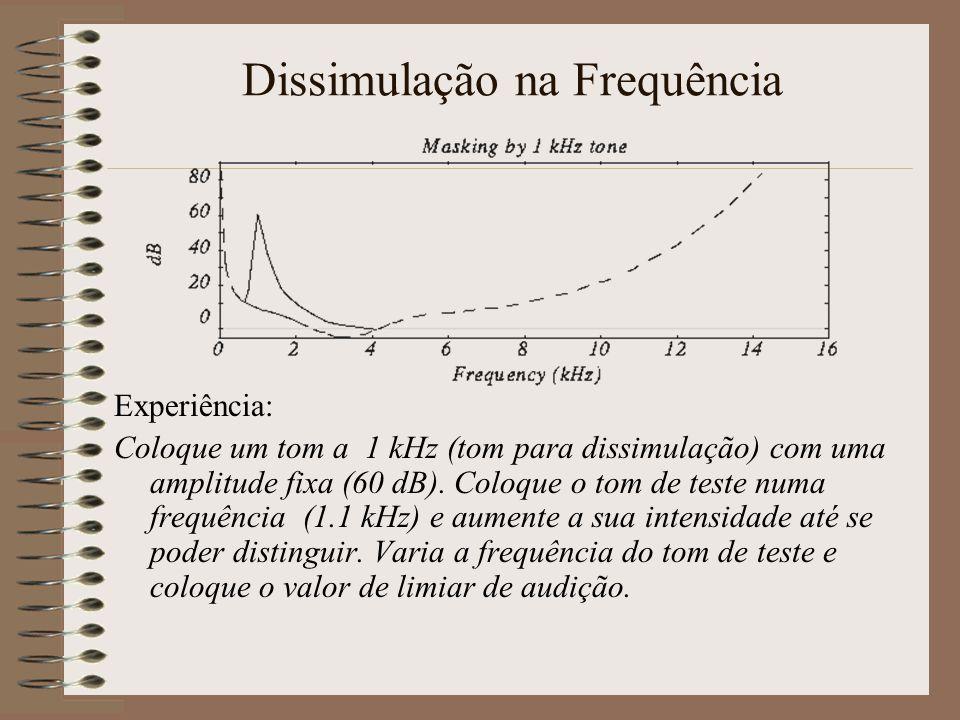 Limiar da Frequência Experiência : Uma pessoa num quarto em silêncio. Aumente a intensidade dum tom de 1 Khz até ele se tornar audível. Varia a frequê