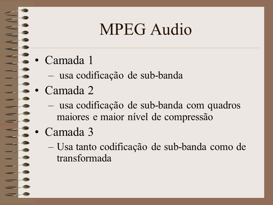 MPEG Audio As duas técnicas avançadas de codificação áudio são baseadas em –Codificação de sub-banda (SBC) –Codificação de Transformada Adaptativa A c