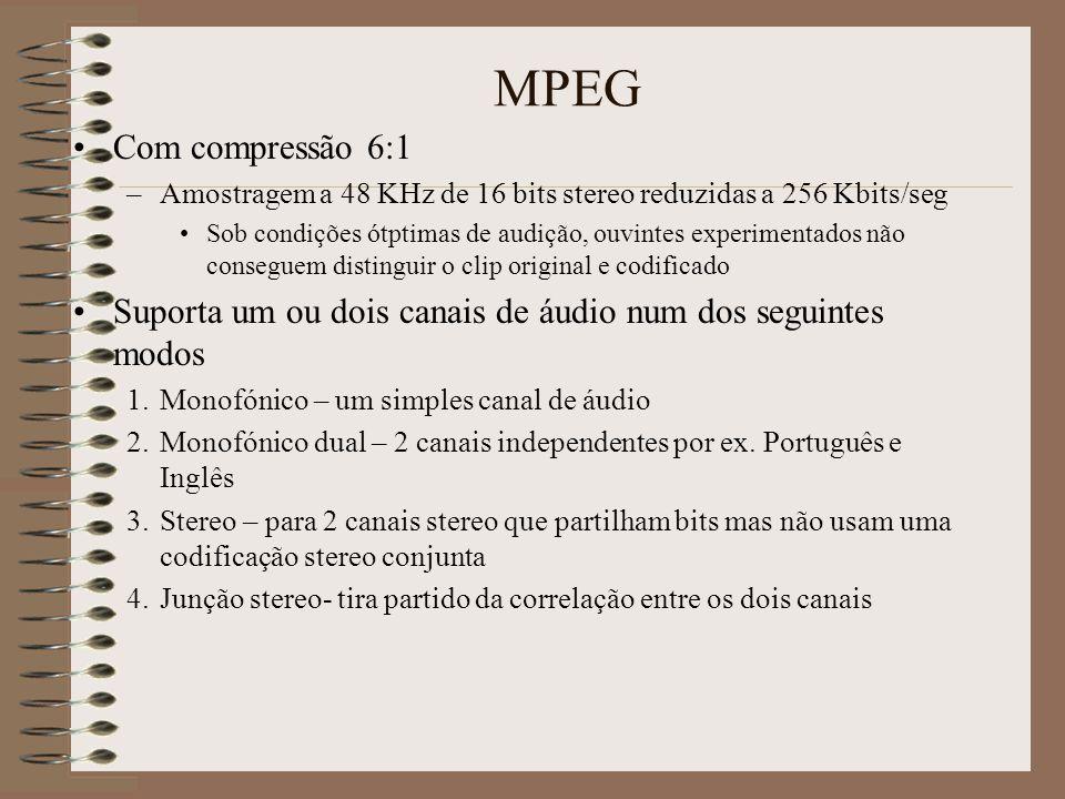 MPEG MPEG-1 Audio –Está concebido para tomar um sinal áudio de entrada em PCM e dependendo da camada Amostrá-lo a 32, 44.1 ou 48 kHz Codificá-lo de 32