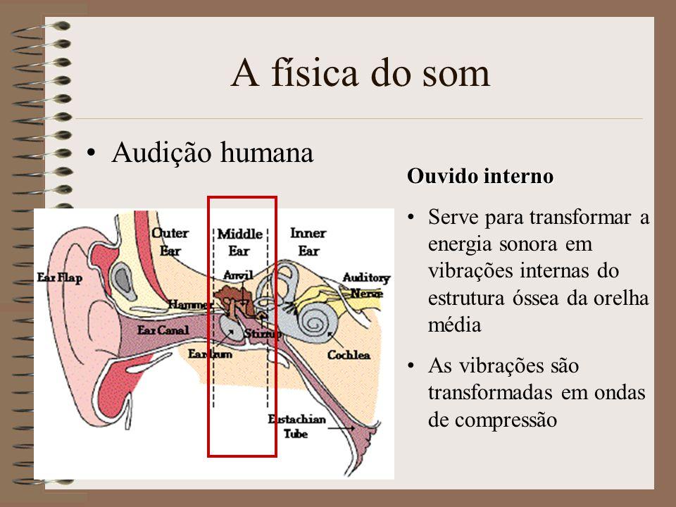 A física do som Audição humana Ouvido interno Serve para transformar a energia sonora em vibrações internas do estrutura óssea da orelha média As vibrações são transformadas em ondas de compressão
