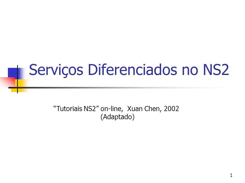 1 Serviços Diferenciados no NS2 Tutoriais NS2 on-line, Xuan Chen, 2002 (Adaptado)