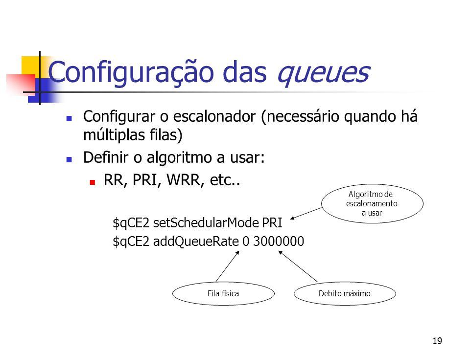 19 Configuração das queues Configurar o escalonador (necessário quando há múltiplas filas) Definir o algoritmo a usar: RR, PRI, WRR, etc.. $qCE2 setSc