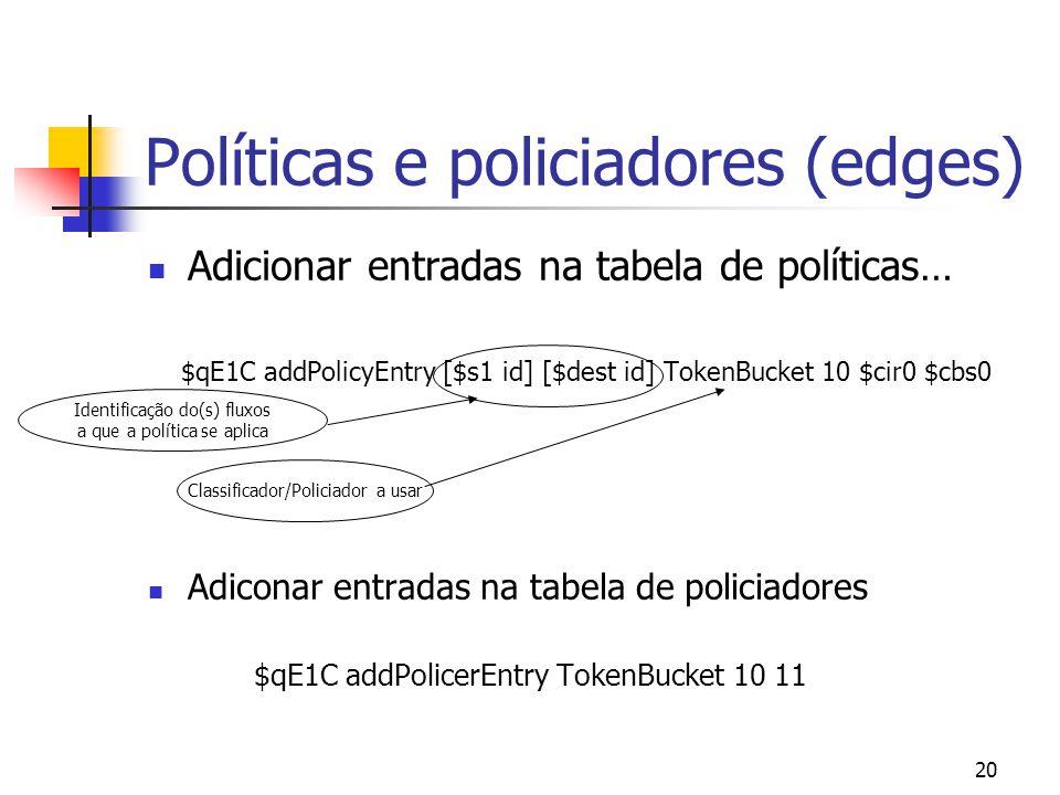 20 Políticas e policiadores (edges) Adicionar entradas na tabela de políticas… $qE1C addPolicyEntry [$s1 id] [$dest id] TokenBucket 10 $cir0 $cbs0 Adiconar entradas na tabela de policiadores $qE1C addPolicerEntry TokenBucket 10 11 Identificação do(s) fluxos a que a política se aplica Classificador/Policiador a usar