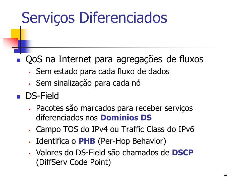 4 Serviços Diferenciados QoS na Internet para agregações de fluxos Sem estado para cada fluxo de dados Sem sinalização para cada nó DS-Field Pacotes são marcados para receber serviços diferenciados nos Domínios DS Campo TOS do IPv4 ou Traffic Class do IPv6 Identifica o PHB (Per-Hop Behavior) Valores do DS-Field são chamados de DSCP (DiffServ Code Point)