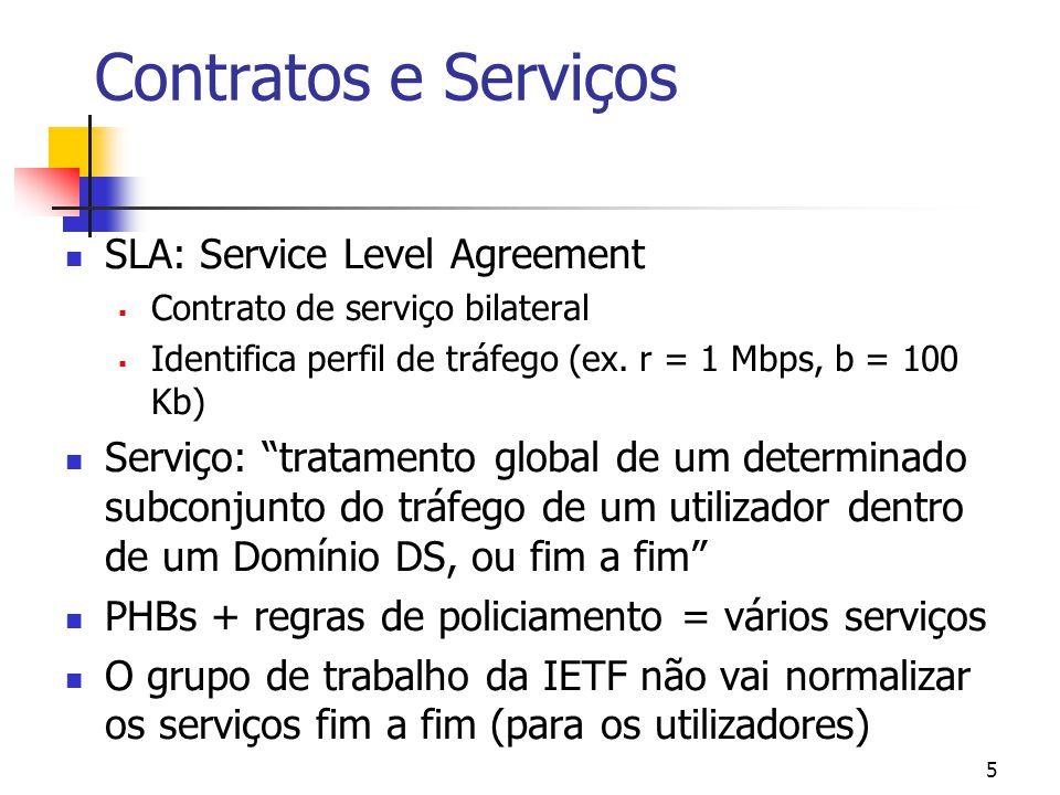 5 Contratos e Serviços SLA: Service Level Agreement Contrato de serviço bilateral Identifica perfil de tráfego (ex. r = 1 Mbps, b = 100 Kb) Serviço: t