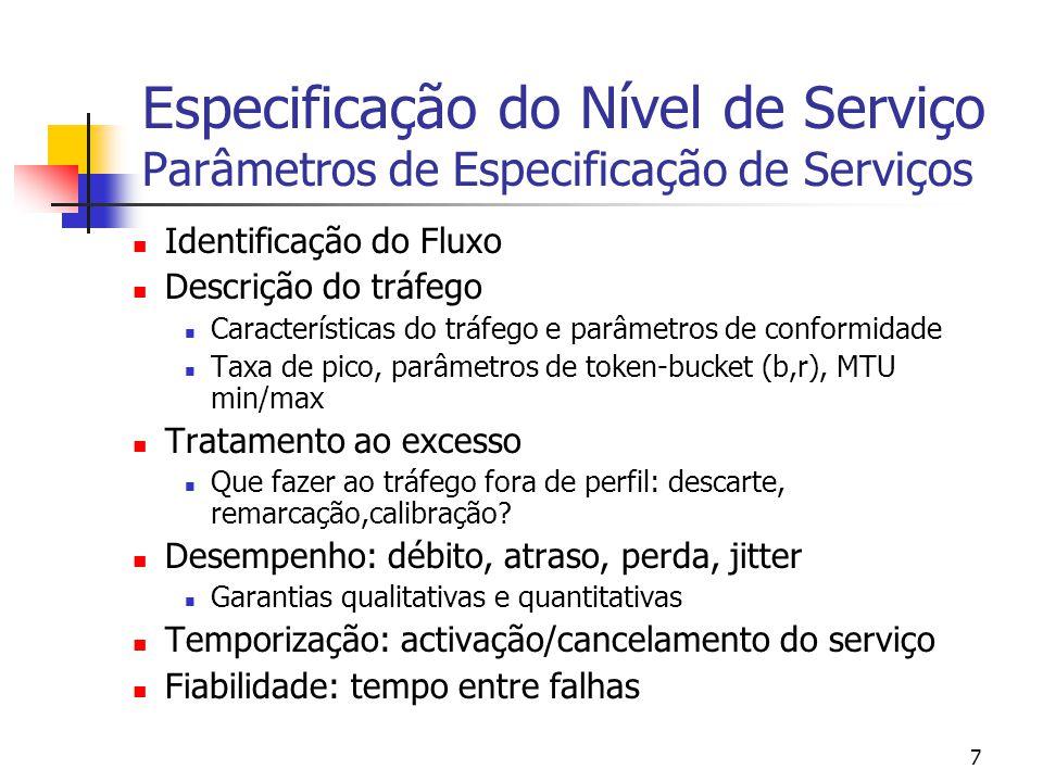 7 Especificação do Nível de Serviço Parâmetros de Especificação de Serviços Identificação do Fluxo Descrição do tráfego Características do tráfego e parâmetros de conformidade Taxa de pico, parâmetros de token-bucket (b,r), MTU min/max Tratamento ao excesso Que fazer ao tráfego fora de perfil: descarte, remarcação,calibração.