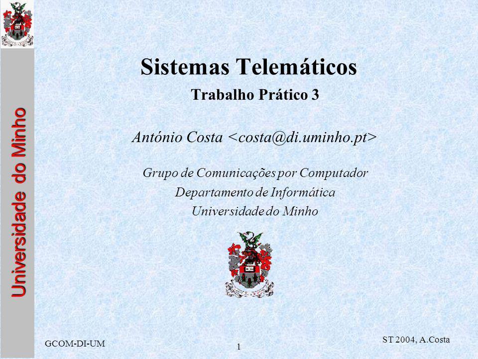 Universidade do Minho GCOM-DI-UM ST 2004, A.Costa 1 Sistemas Telemáticos Trabalho Prático 3 António Costa Grupo de Comunicações por Computador Departamento de Informática Universidade do Minho