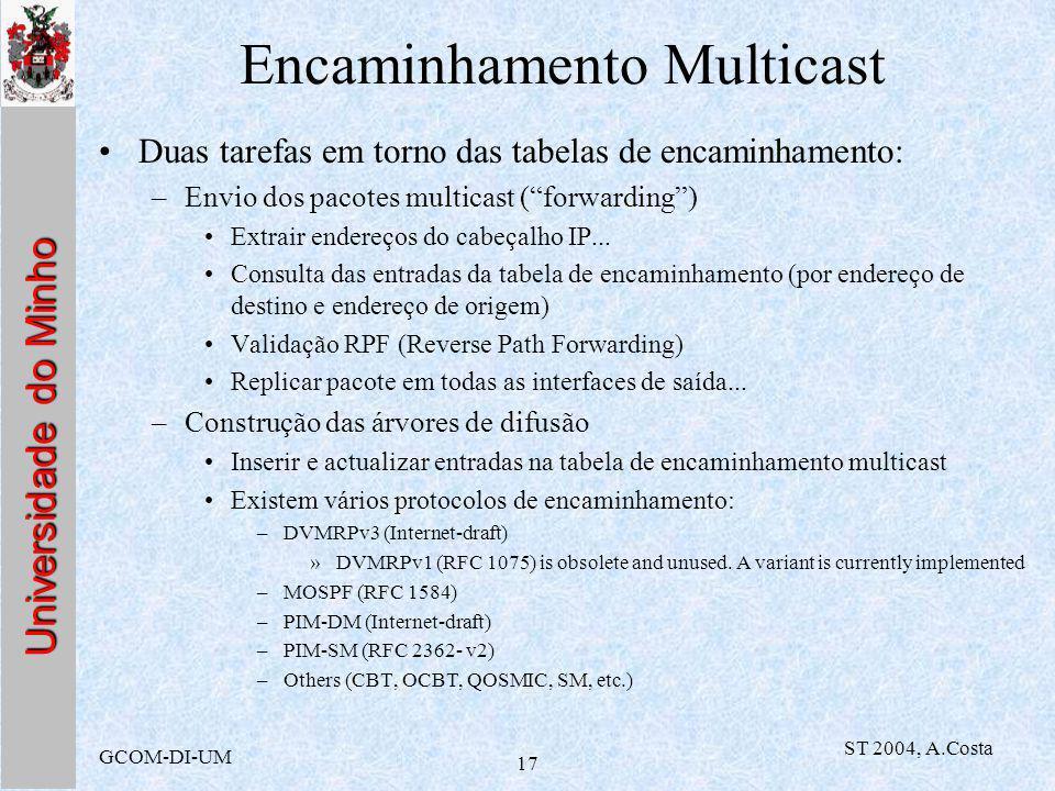 Universidade do Minho GCOM-DI-UM ST 2004, A.Costa 17 Encaminhamento Multicast Duas tarefas em torno das tabelas de encaminhamento: –Envio dos pacotes multicast (forwarding) Extrair endereços do cabeçalho IP...