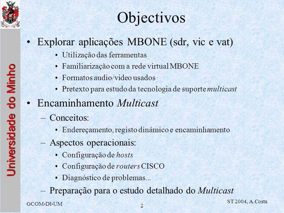 GCOM-DI-UM ST 2004, A.Costa 2 Objectivos Explorar aplicações MBONE (sdr, vic e vat) Utilização das ferramentas Familiarização com a rede virtual MBONE Formatos audio/video usados Pretexto para estudo da tecnologia de suporte multicast Encaminhamento Multicast –Conceitos: Endereçamento, registo dinâmico e encaminhamento –Aspectos operacionais: Configuração de hosts Configuração de routers CISCO Diagnóstico de problemas...
