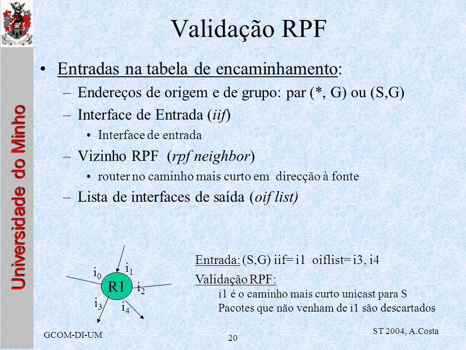 Universidade do Minho GCOM-DI-UM ST 2004, A.Costa 20 Validação RPF Entradas na tabela de encaminhamento: –Endereços de origem e de grupo: par (*, G) ou (S,G) –Interface de Entrada (iif) Interface de entrada –Vizinho RPF (rpf neighbor) router no caminho mais curto em direcção à fonte –Lista de interfaces de saída (oif list) R1 i0i0 i1i1 i2i2 i3i3 i4i4 Entrada: (S,G) iif= i1 oiflist= i3, i4 Validação RPF: i1 é o caminho mais curto unicast para S Pacotes que não venham de i1 são descartados