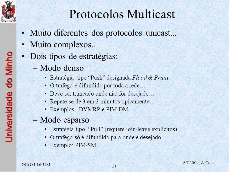 Universidade do Minho GCOM-DI-UM ST 2004, A.Costa 21 Protocolos Multicast Muito diferentes dos protocolos unicast...