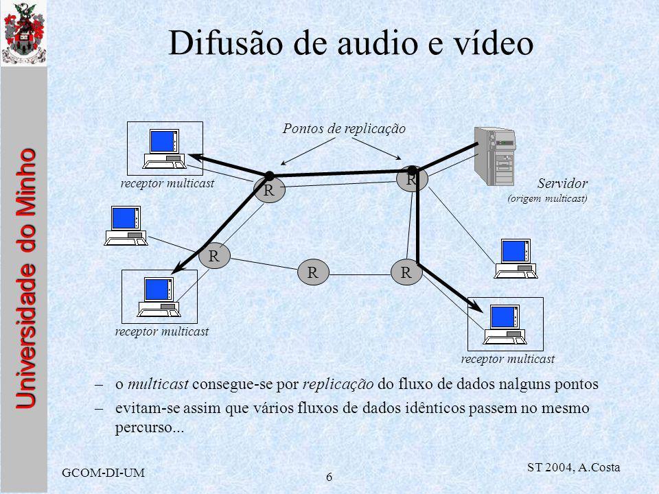 Universidade do Minho GCOM-DI-UM ST 2004, A.Costa 7 MBone –Virtual Internet Backbone for Multicast IP (ou simplesmente Multicast Backbone) uma implementação real, no mundo inteiro, de uma rede multicast –A designação abrange duas coisas: uma rede física, a funcionar sobre a Internet, com routers que suportam funções de multicasting Um conjunto de programas para difundir audio e video na rede, e para ajudar os utilizadores a procurarem sessões e a reproduzi-las (vídeo e som) O que é o Mbone?