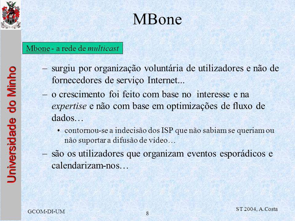 Universidade do Minho GCOM-DI-UM ST 2004, A.Costa 9 MBone –utilizadores são informados das emissões através de uma ferramenta especial que se chama sdr (Session directory): esta informação é também difundida, usando a mesma tecnologia.
