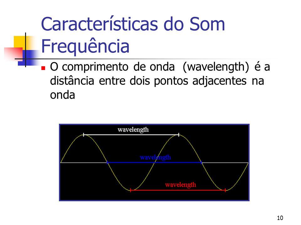 10 Características do Som Frequência O comprimento de onda (wavelength) é a distância entre dois pontos adjacentes na onda