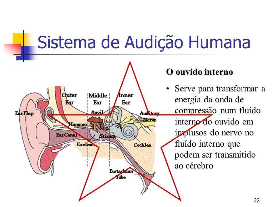 22 Sistema de Audição Humana O ouvido interno Serve para transformar a energia da onda de compressão num fluído interno do ouvido em implusos do nervo